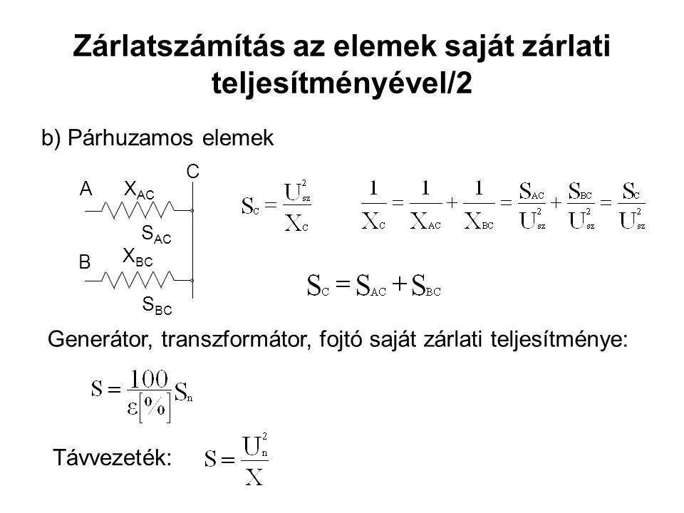 Zárlatszámítás az elemek saját zárlati teljesítményével/2