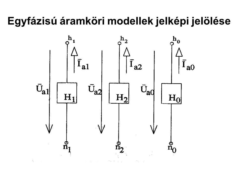 Egyfázisú áramköri modellek jelképi jelölése