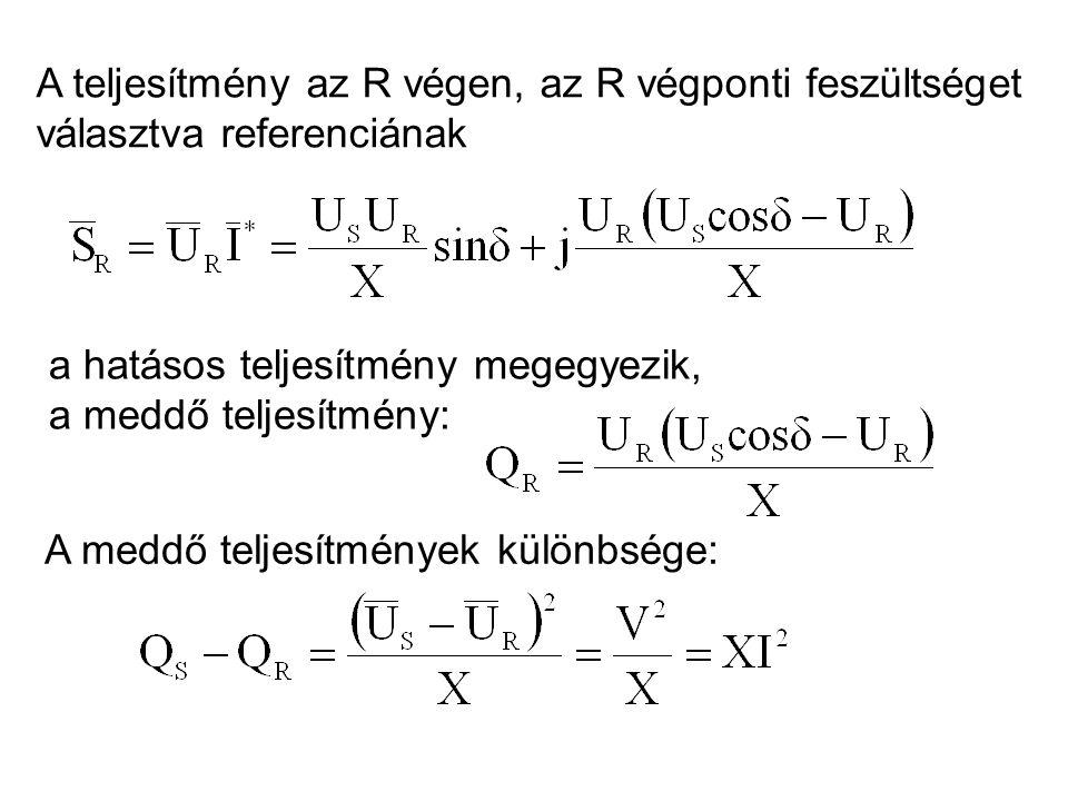 A teljesítmény az R végen, az R végponti feszültséget választva referenciának