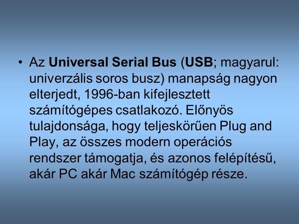 Az Universal Serial Bus (USB; magyarul: univerzális soros busz) manapság nagyon elterjedt, 1996-ban kifejlesztett számítógépes csatlakozó.
