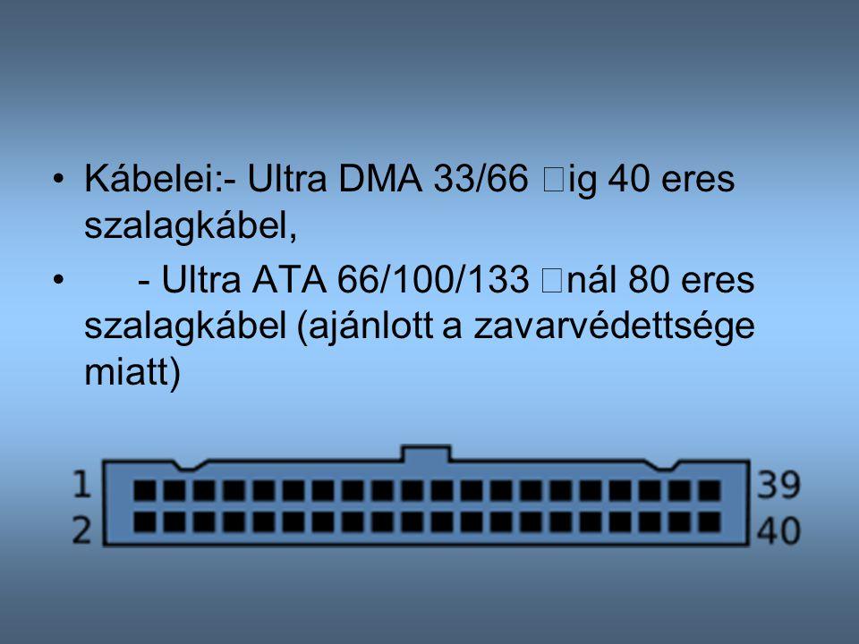 Kábelei: - Ultra DMA 33/66 –ig 40 eres szalagkábel,