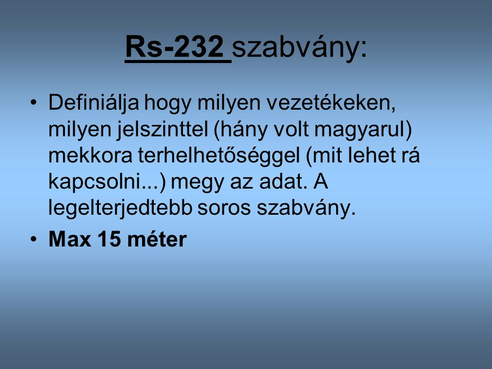 Rs-232 szabvány: