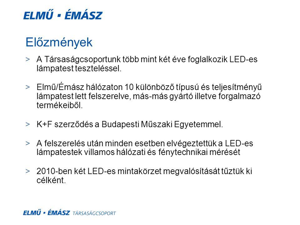 Előzmények A Társaságcsoportunk több mint két éve foglalkozik LED-es lámpatest teszteléssel.
