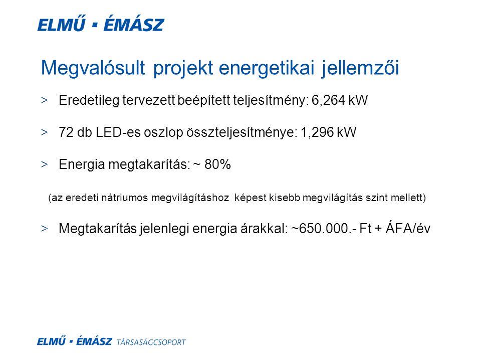 Megvalósult projekt energetikai jellemzői
