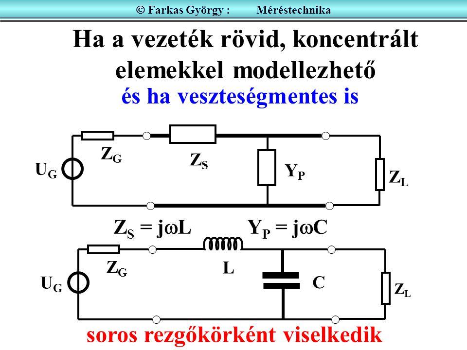 Ha a vezeték rövid, koncentrált elemekkel modellezhető