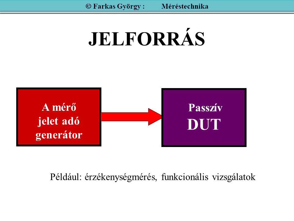  Farkas György : Méréstechnika A mérő jelet adó generátor