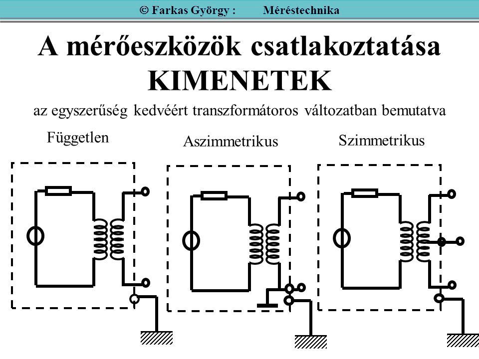 A mérőeszközök csatlakoztatása KIMENETEK