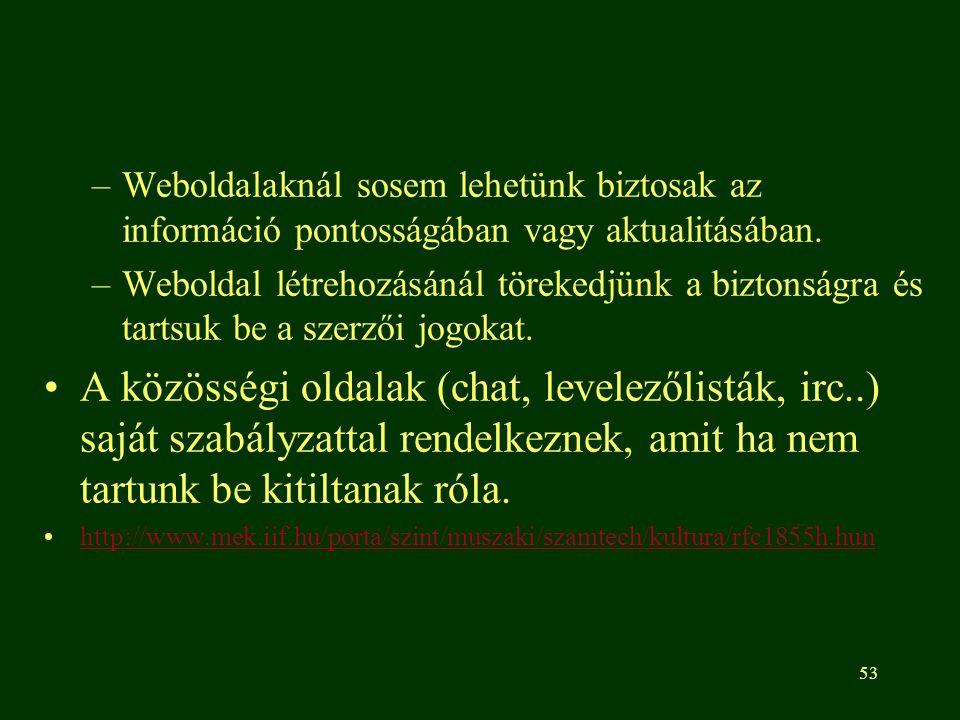 Weboldalaknál sosem lehetünk biztosak az információ pontosságában vagy aktualitásában.