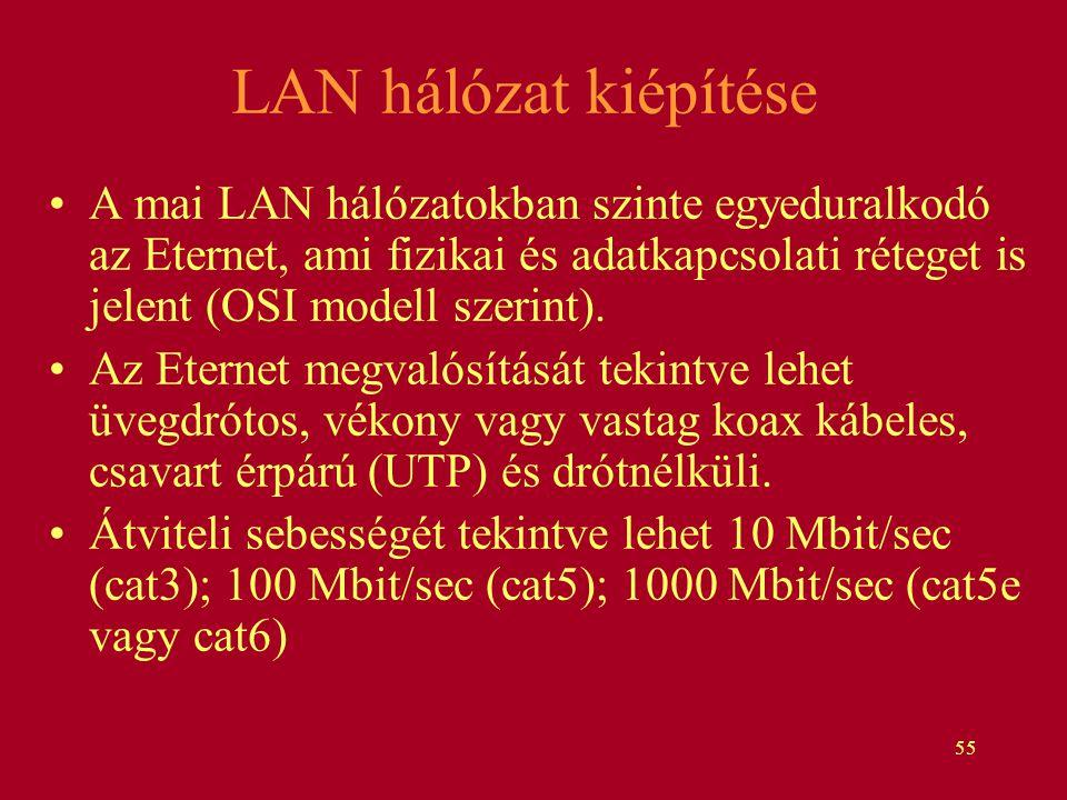 LAN hálózat kiépítése A mai LAN hálózatokban szinte egyeduralkodó az Eternet, ami fizikai és adatkapcsolati réteget is jelent (OSI modell szerint).