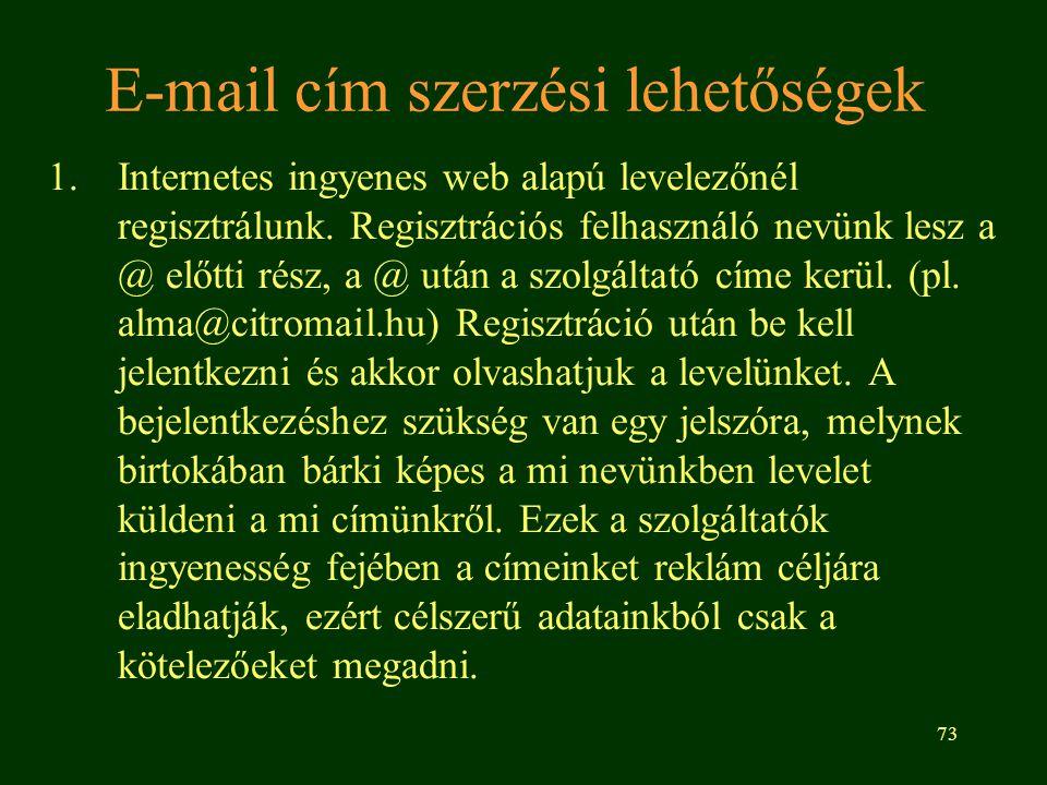 E-mail cím szerzési lehetőségek