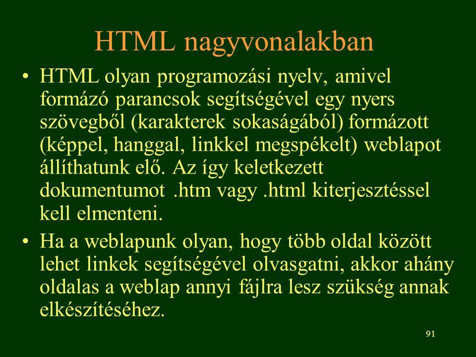 HTML nagyvonalakban