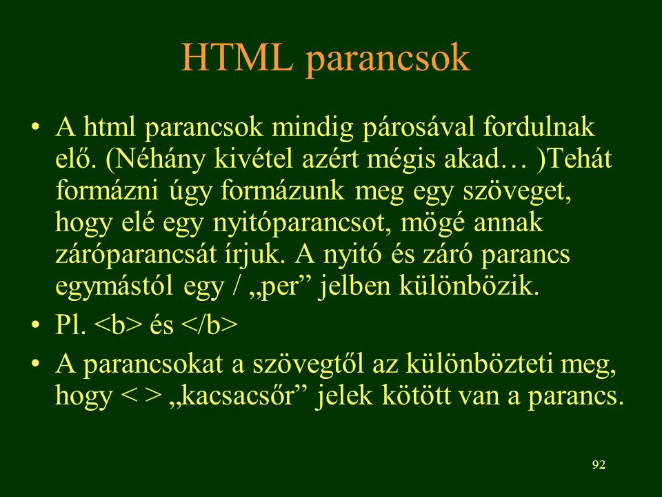 HTML parancsok