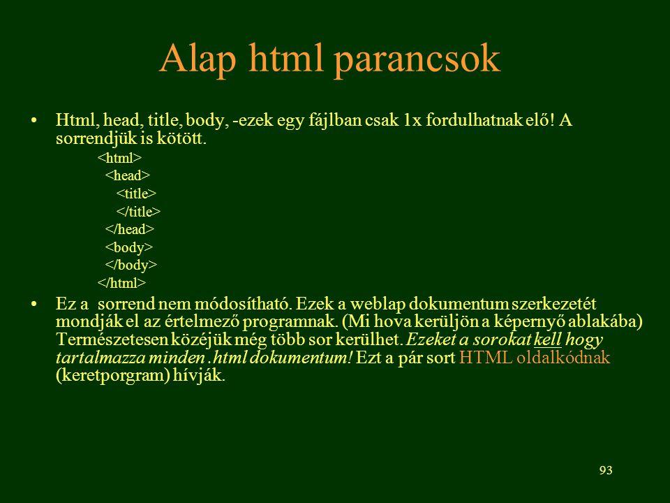 Alap html parancsok Html, head, title, body, -ezek egy fájlban csak 1x fordulhatnak elő! A sorrendjük is kötött.