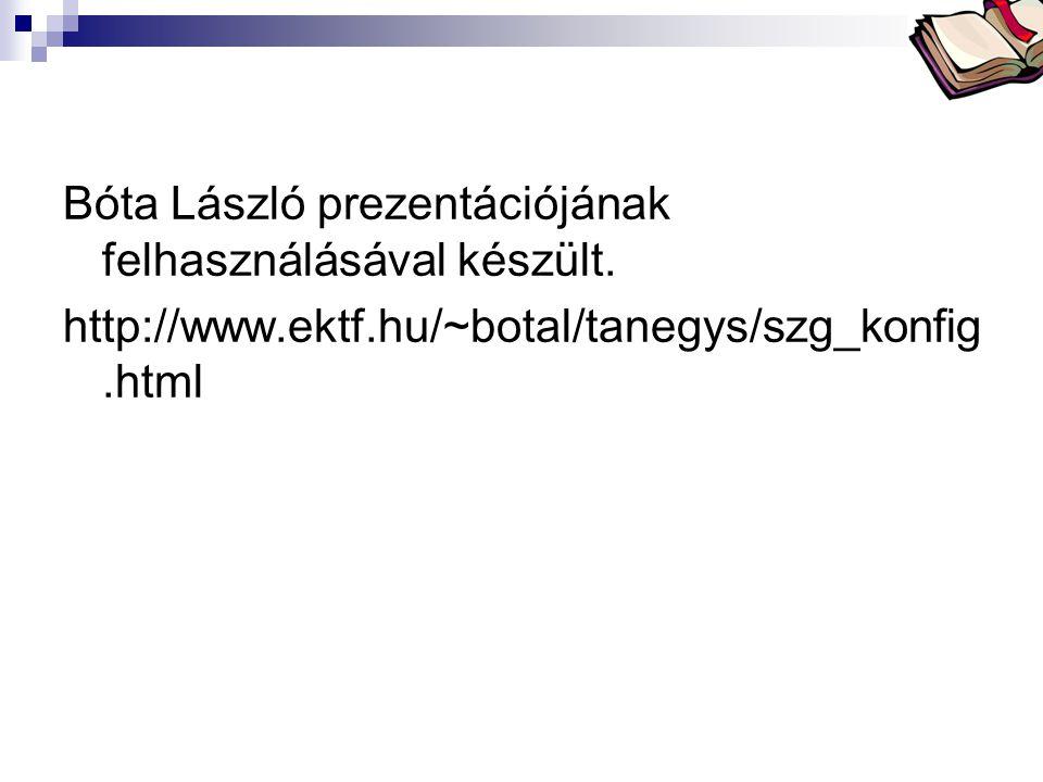 Bóta László prezentációjának felhasználásával készült.