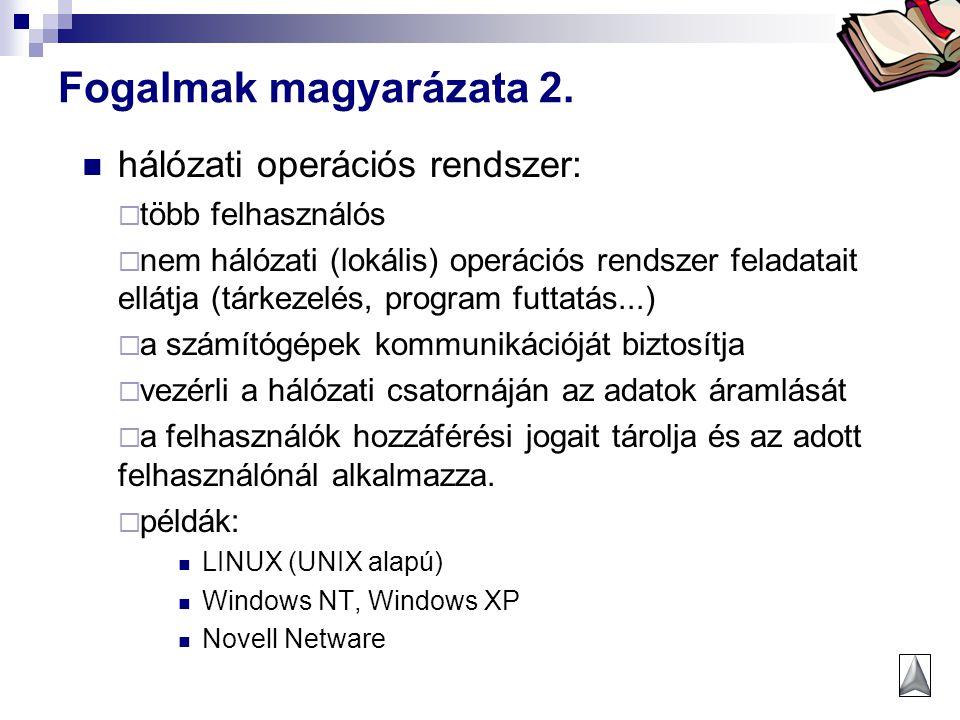 Fogalmak magyarázata 2. hálózati operációs rendszer: több felhasználós