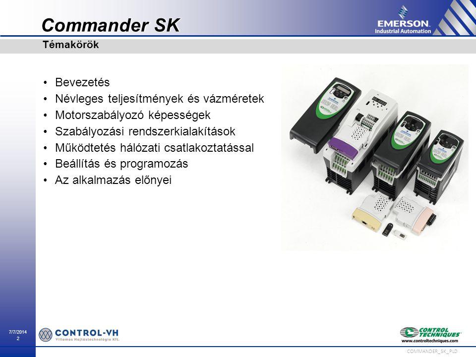 Commander SK Bevezetés Névleges teljesítmények és vázméretek