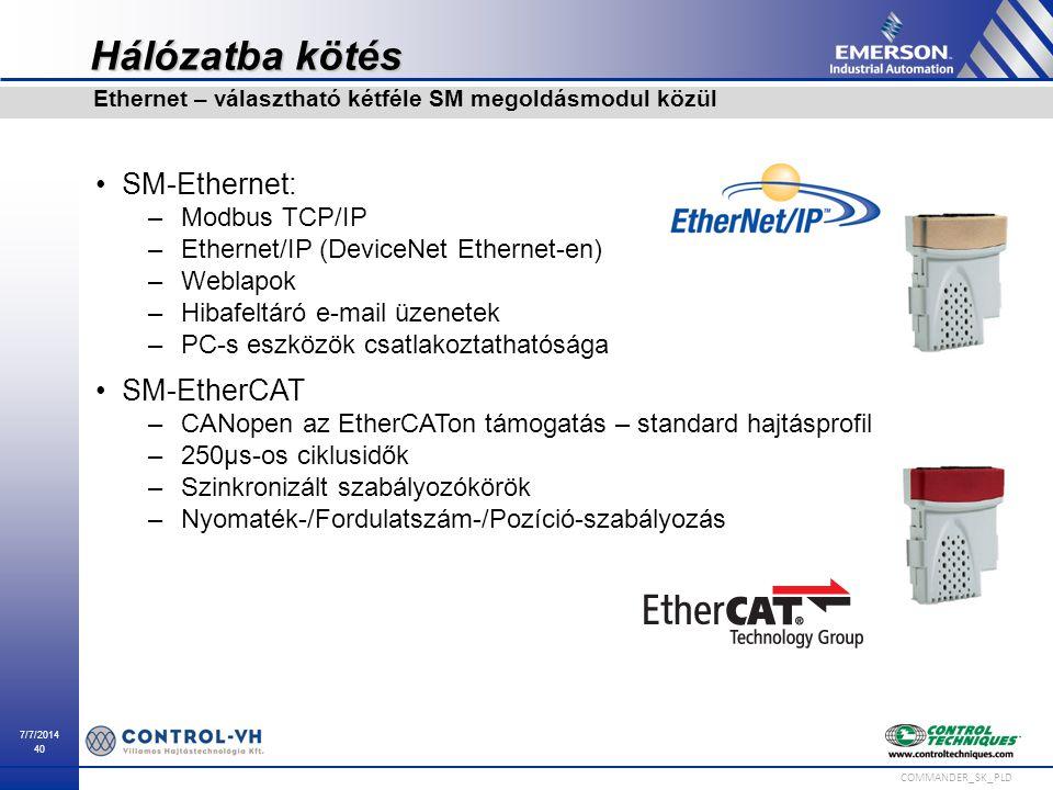 Hálózatba kötés SM-Ethernet: SM-EtherCAT Modbus TCP/IP