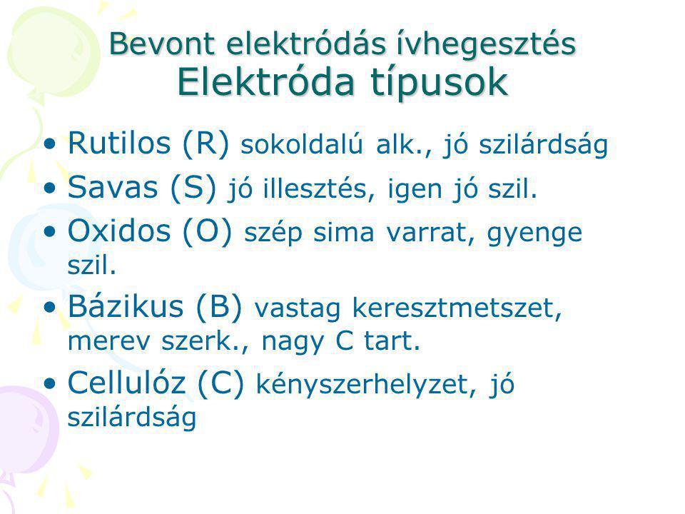 Bevont elektródás ívhegesztés Elektróda típusok