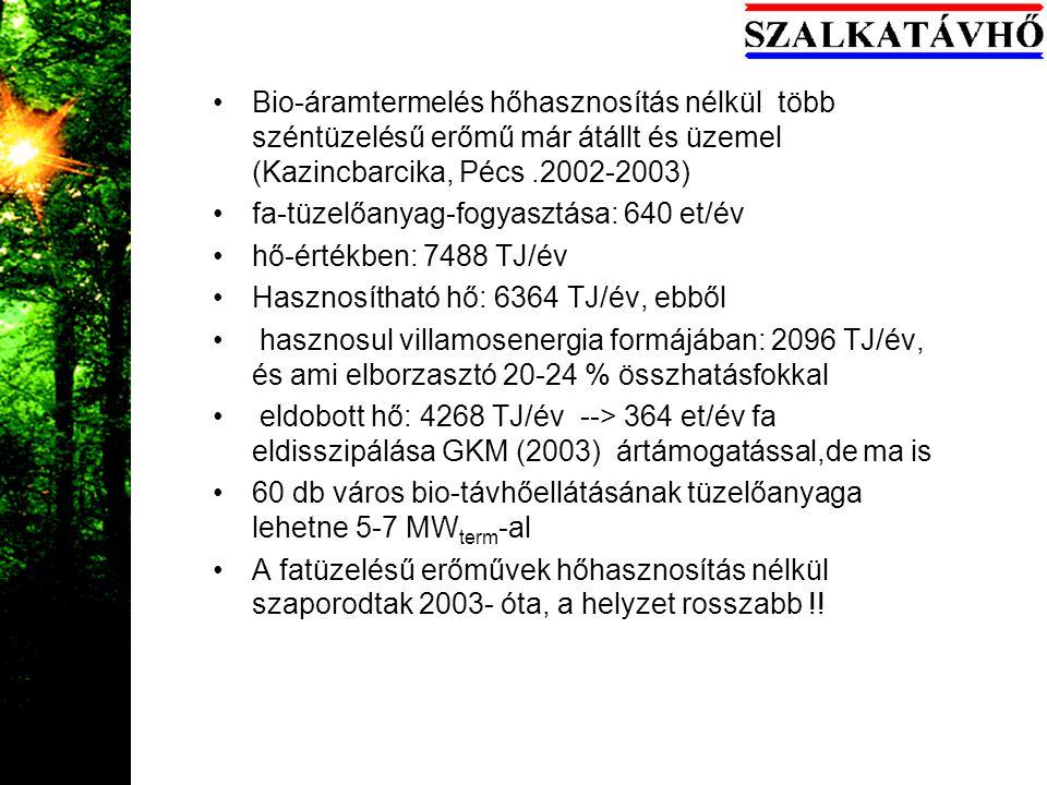 Bio-áramtermelés hőhasznosítás nélkül több széntüzelésű erőmű már átállt és üzemel (Kazincbarcika, Pécs .2002-2003)