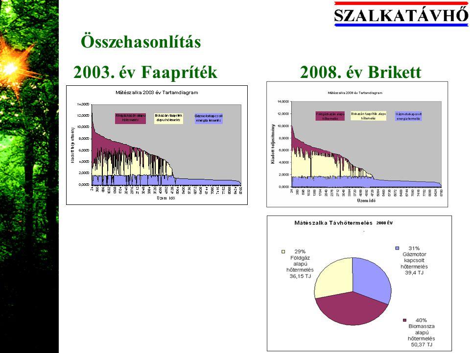 Összehasonlítás 2003. év Faapríték 2008. év Brikett