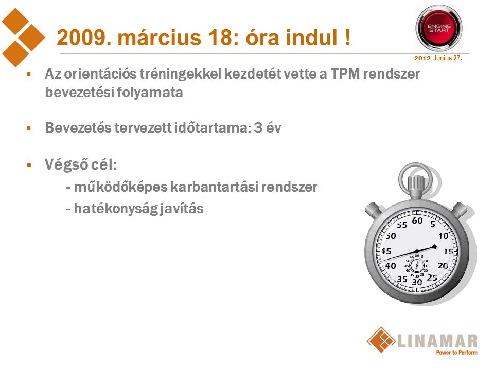 2009. március 18: óra indul ! Végső cél: