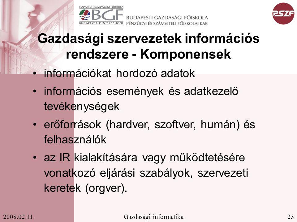 Gazdasági szervezetek információs rendszere - Komponensek