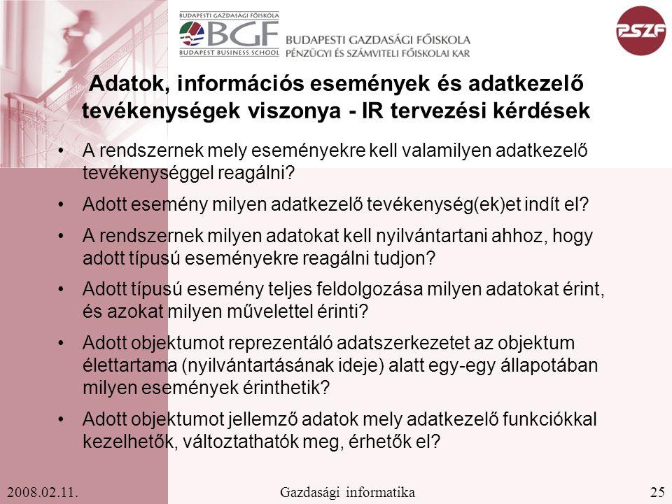 Adatok, információs események és adatkezelő tevékenységek viszonya - IR tervezési kérdések
