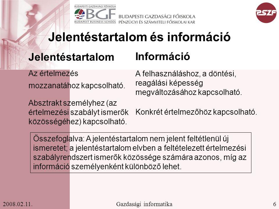 Jelentéstartalom és információ