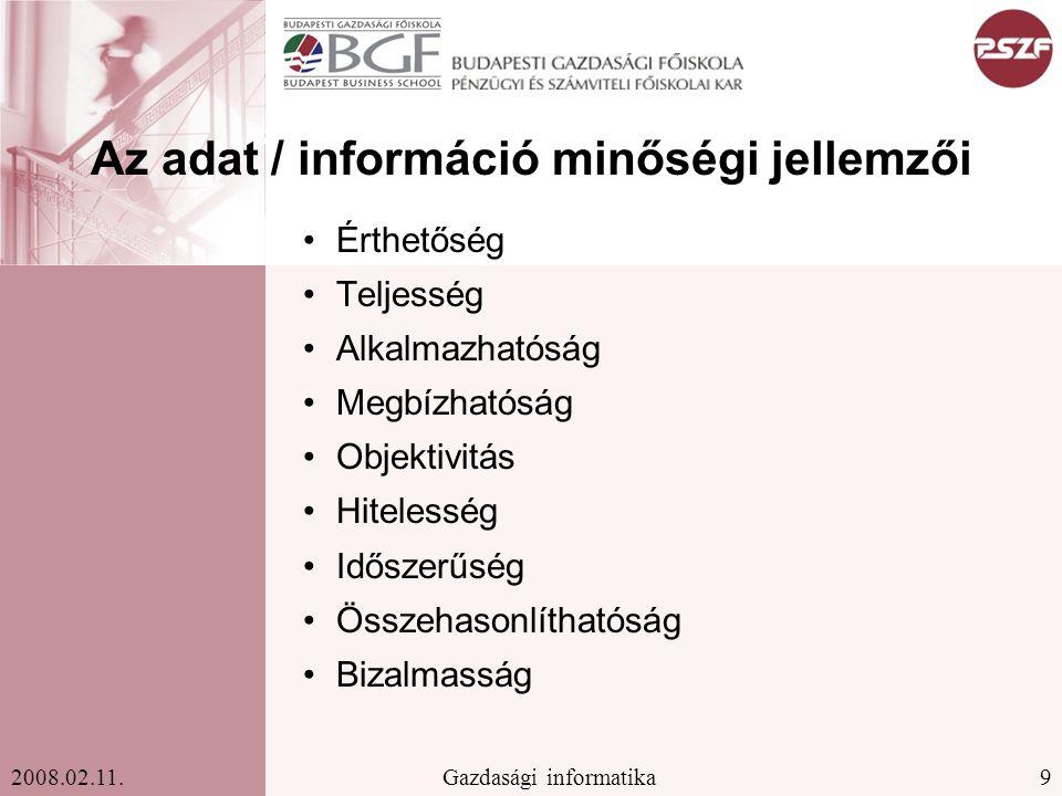 Az adat / információ minőségi jellemzői