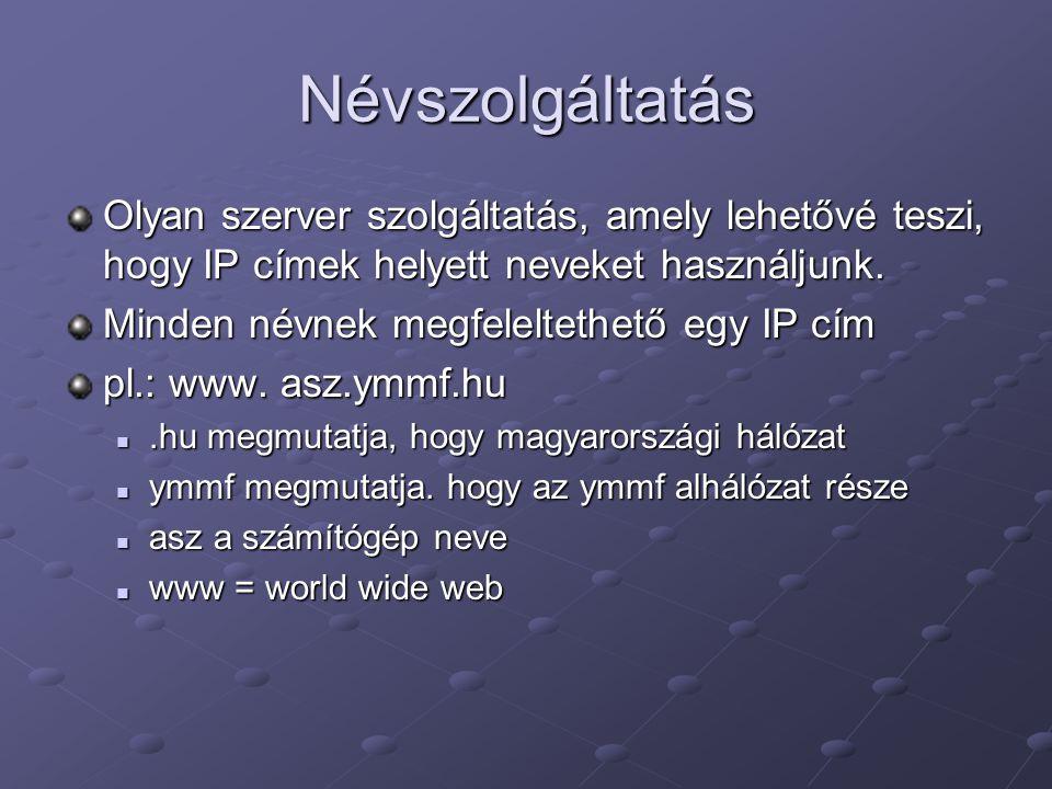Névszolgáltatás Olyan szerver szolgáltatás, amely lehetővé teszi, hogy IP címek helyett neveket használjunk.