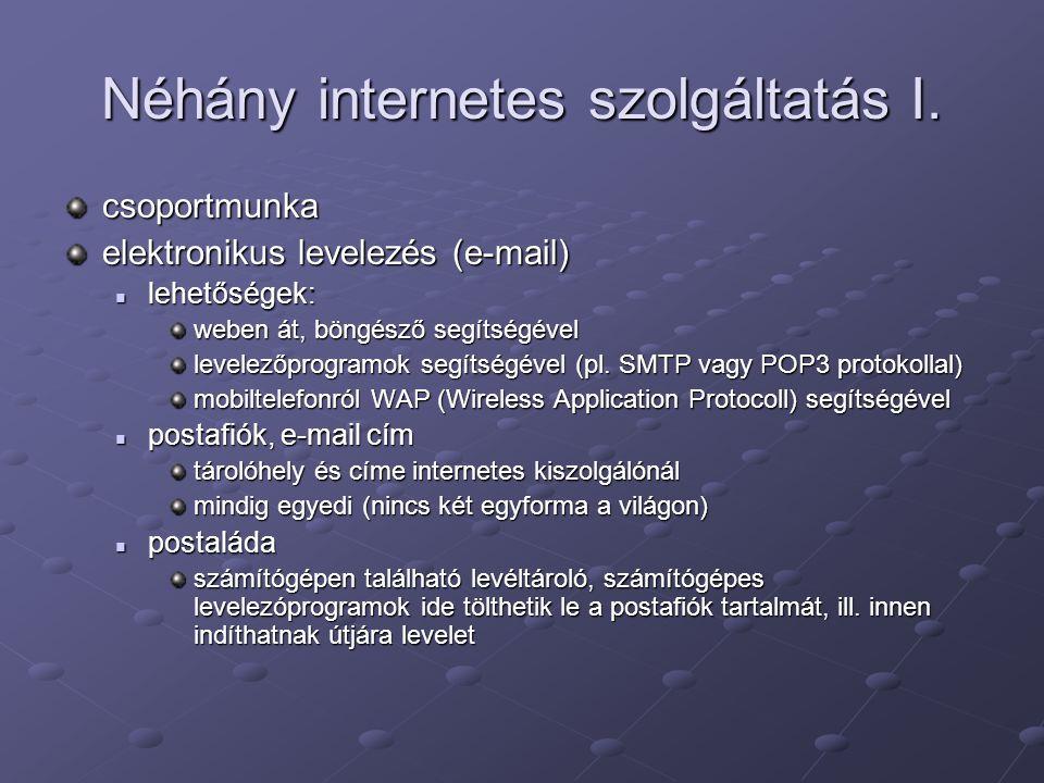 Néhány internetes szolgáltatás I.