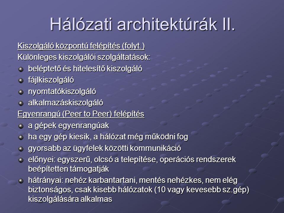 Hálózati architektúrák II.