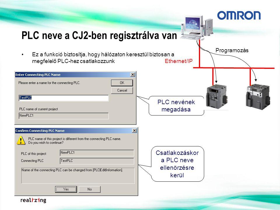 PLC neve a CJ2-ben regisztrálva van