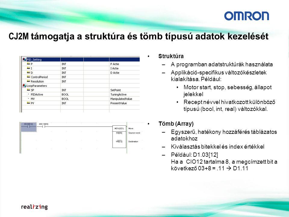 CJ2M támogatja a struktúra és tömb típusú adatok kezelését