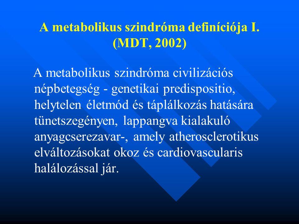 A metabolikus szindróma definíciója I. (MDT, 2002)