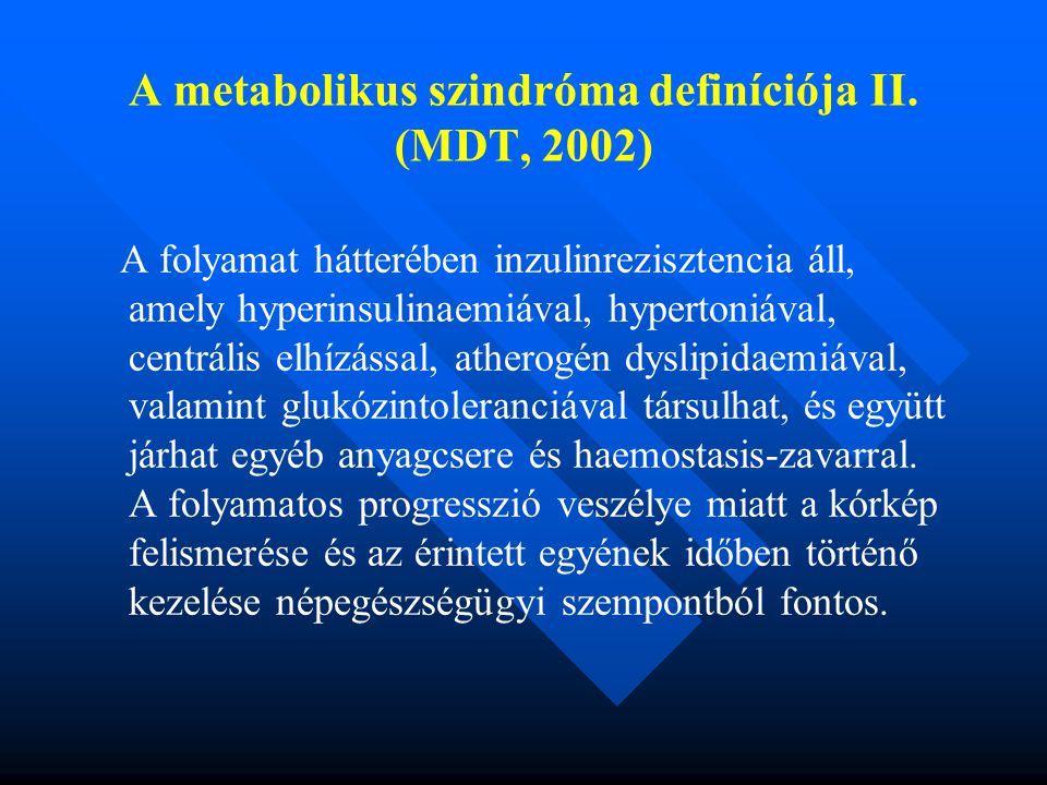 A metabolikus szindróma definíciója II. (MDT, 2002)