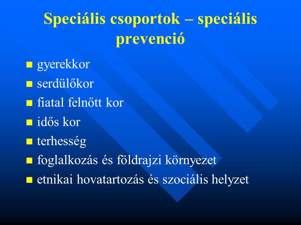 Speciális csoportok – speciális prevenció