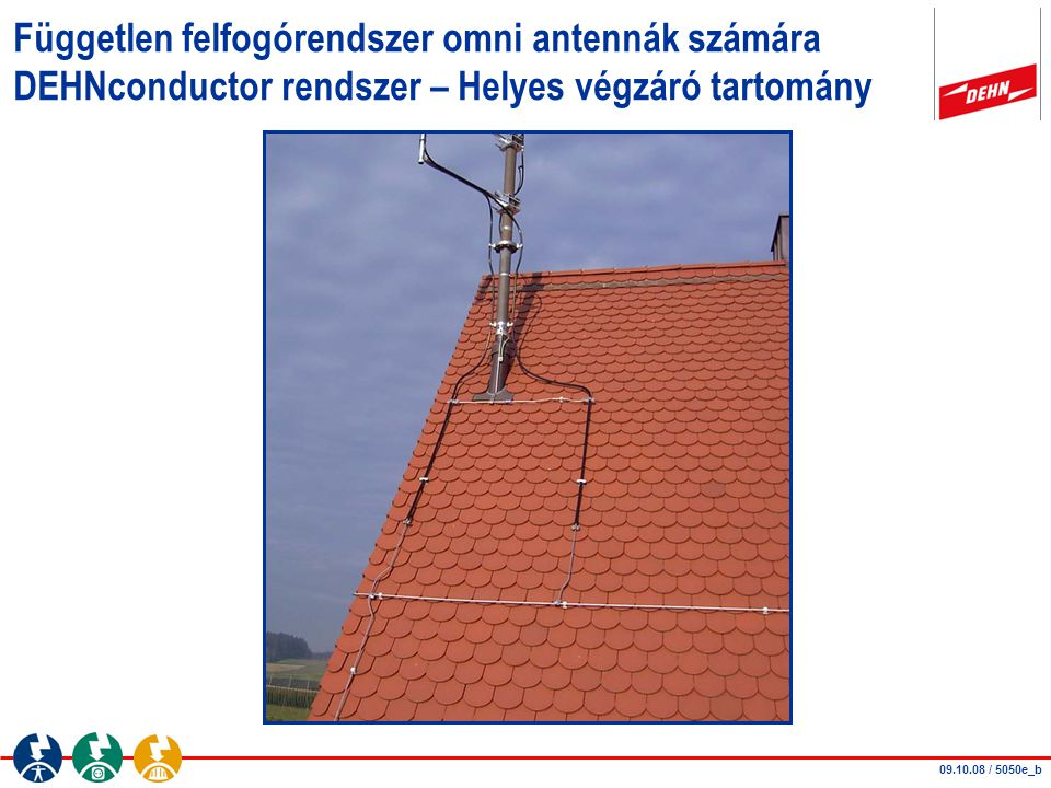 Független felfogórendszer omni antennák számára DEHNconductor rendszer – Helyes végzáró tartomány