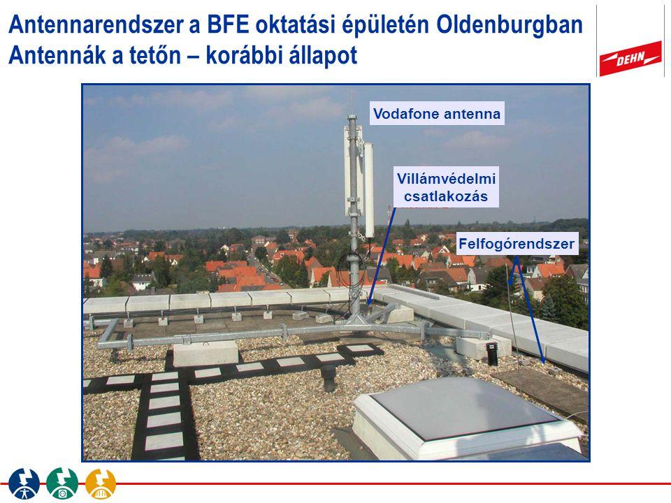 Antennarendszer a BFE oktatási épületén Oldenburgban Antennák a tetőn – korábbi állapot