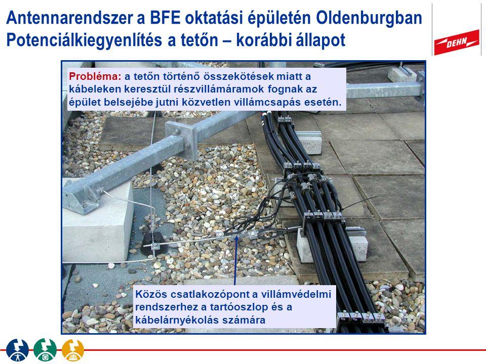 Antennarendszer a BFE oktatási épületén Oldenburgban Potenciálkiegyenlítés a tetőn – korábbi állapot