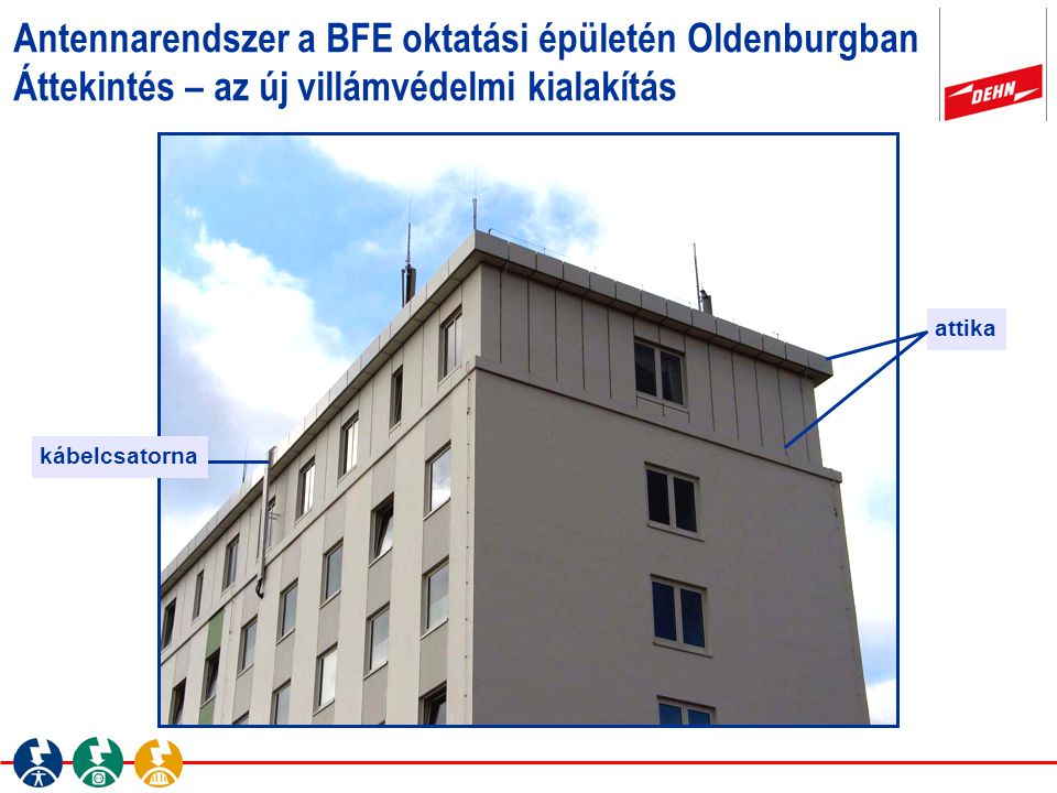 Antennarendszer a BFE oktatási épületén Oldenburgban Áttekintés – az új villámvédelmi kialakítás