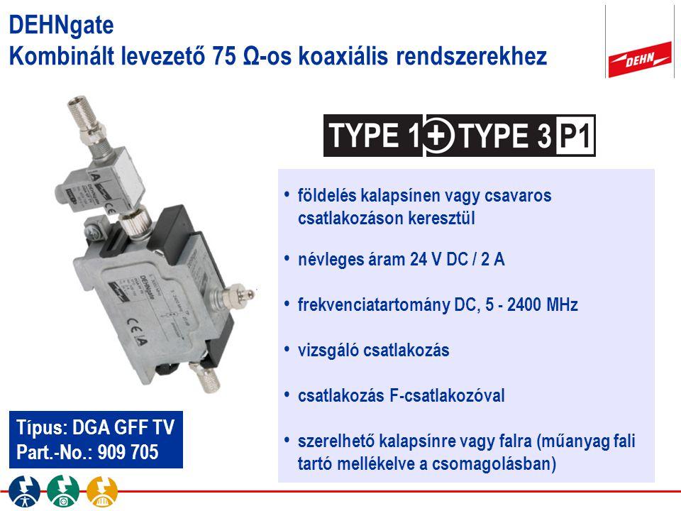 DEHNgate Kombinált levezető 75 Ω-os koaxiális rendszerekhez