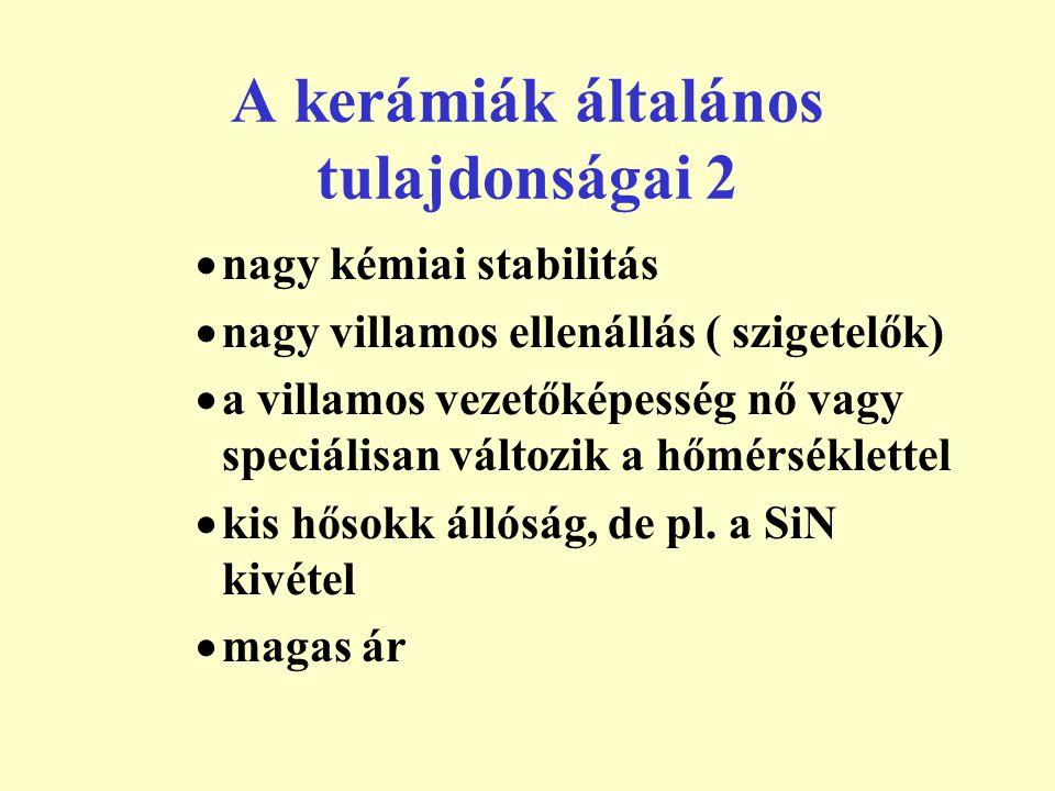 A kerámiák általános tulajdonságai 2