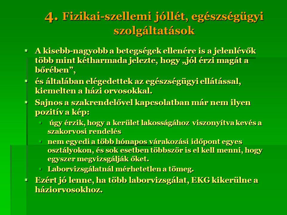4. Fizikai-szellemi jóllét, egészségügyi szolgáltatások
