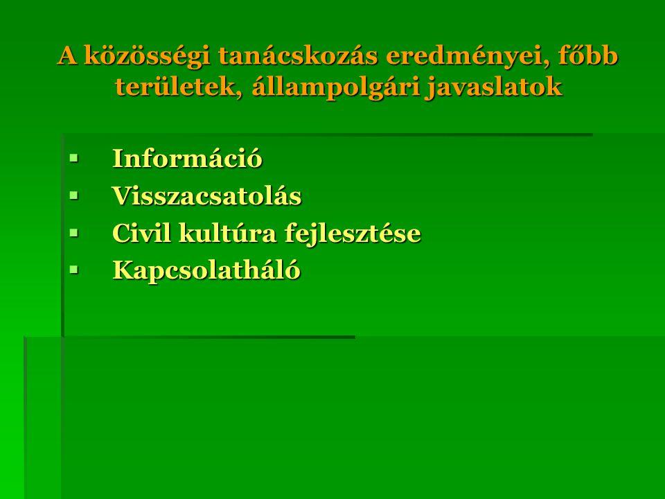 A közösségi tanácskozás eredményei, főbb területek, állampolgári javaslatok