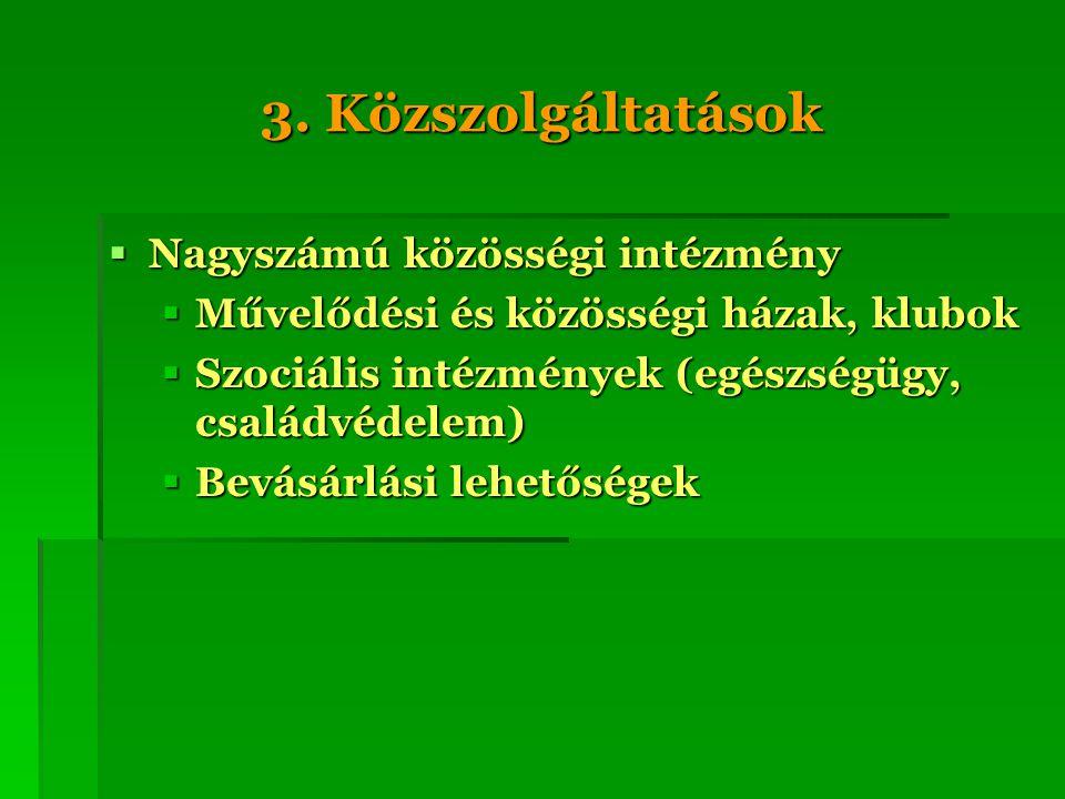 3. Közszolgáltatások Nagyszámú közösségi intézmény