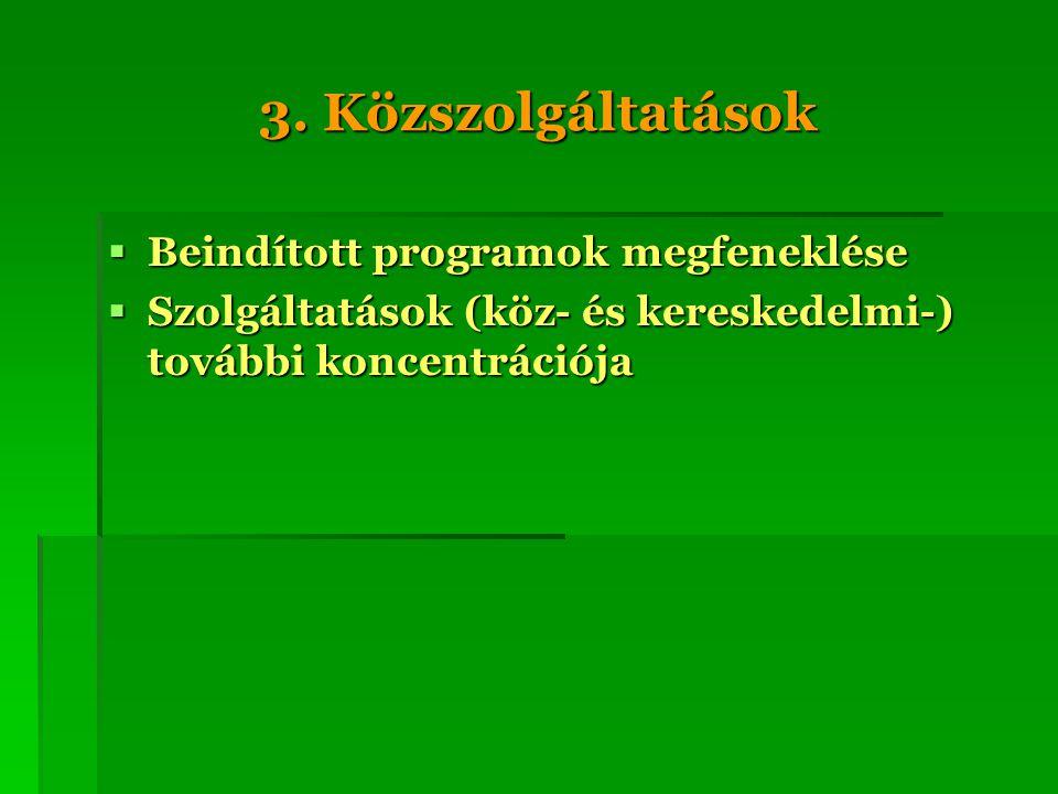3. Közszolgáltatások Beindított programok megfeneklése