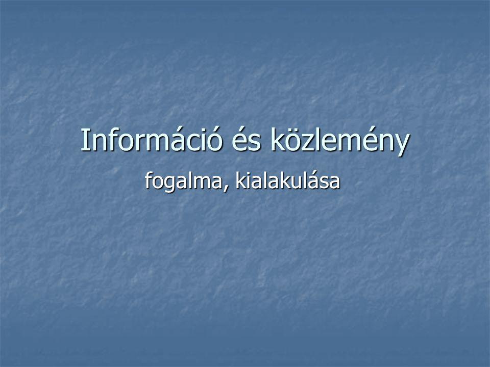 Információ és közlemény