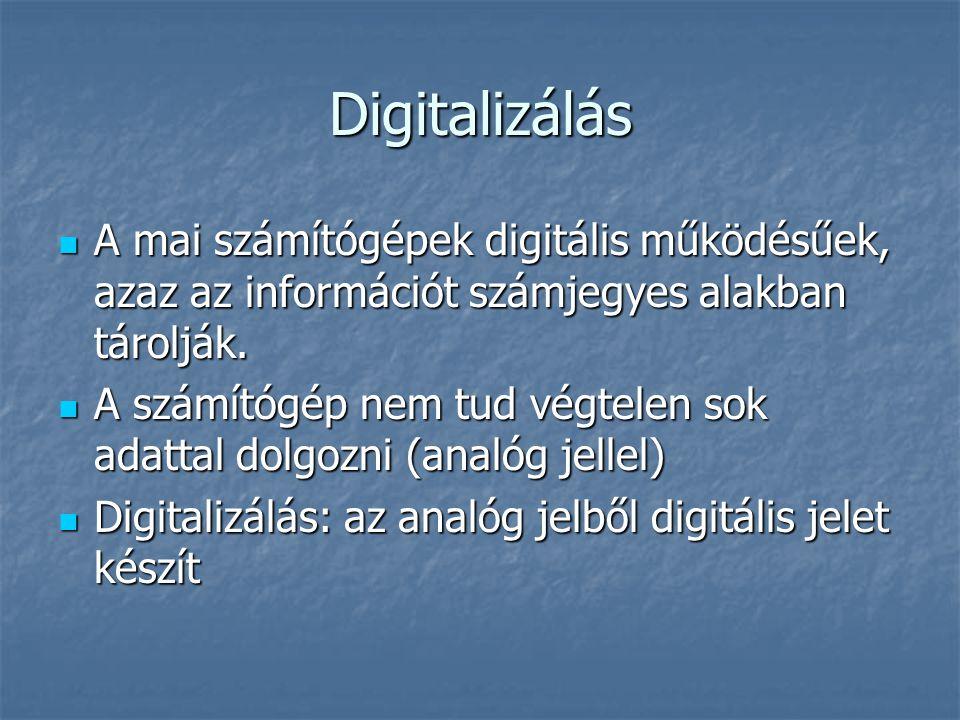 Digitalizálás A mai számítógépek digitális működésűek, azaz az információt számjegyes alakban tárolják.