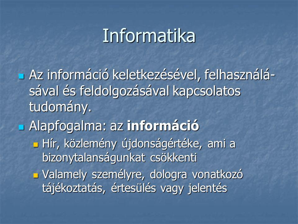 Informatika Az információ keletkezésével, felhasználá-sával és feldolgozásával kapcsolatos tudomány.
